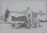 Monks and the Lioness - Shibu  Natesan - Absolute Auction of Indian Art & Collectibles