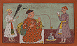 Portrait of a Prince being presented with a Coconut - Indian Miniature Paintings and Works of Art