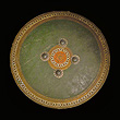 Polychrome Lacquered Wooden Shield - Indian Miniature Paintings and Works of Art
