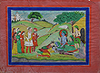 Rama, Sita, and Lakshman worshiped by a Sikh ruler, Punjab Hills - Indian Miniature Paintings and Works of Art