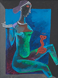 Cobra Girl - M F Husain - Autumn Art Auction