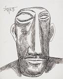 Untitled (Male Head) - F N Souza - F.N.Souza   Mumbai, Live