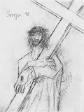 Untitled (Christ Carrying Cross) - F N Souza - F.N.Souza   Mumbai, Live
