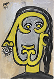 Untitled (Woman in Profile with Nose Ring) - F N Souza - F.N.Souza   Mumbai, Live