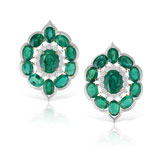 A PAIR OF EMERALD AND DIAMOND EAR CLIPS -    - Autumn Auction of Fine Jewels and Silver