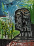 Head in a Landscape - F N Souza - Summer Art Auction