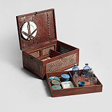 A WOOD AND CANE PICNIC BOX -    - Travel and Leisure Auction