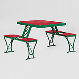 A UNIQUE VINTAGE FOLDING PICNIC BENCH -    - Travel and Leisure Auction
