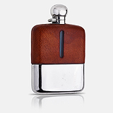 A GEORGE VI STERLING SILVER, LEATHER AND GLASS FLASK, JAMES DIXON & SONS -    - Travel and Leisure Auction