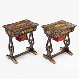 A PAIR OF PERIOD LACQUER AND PARCEL GILT SEWING TABLES -    - 24-Hour Online Auction: Elegant Design