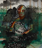 The Black Sari - Bhupen  Khakhar - Modern Evening Sale | Mumbai, Live