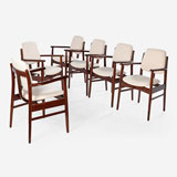 A SET OF SIX MID-CENTURY DINING CHAIRS -    - LIVE Auction Celebrating 20th Century Design