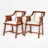 A PAIR OF VINTAGE ARTS AND CRAFTS-STYLE CHAIRS -    - LIVE Auction Celebrating 20th Century Design