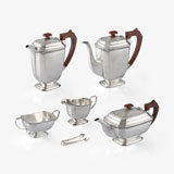 A SILVER TEA AND COFFEE SERVICE, JB CHATTERLEY & SONS LTD, BIRMINGHAM -    - LIVE Auction Celebrating 20th Century Design