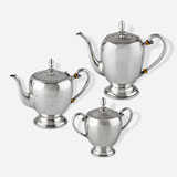A HALLMARKED SILVER TEA AND COFFEE SERVICE -    - LIVE Auction Celebrating 20th Century Design