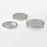 A QUANTITY OF HALLMARKED SILVER SALVERS -    - LIVE Auction Celebrating 20th Century Design