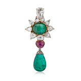 AN EMERALD, RUBELLITE AND DIAMOND PENDANT -    - Online Auction of Fine Jewels and Silver
