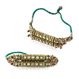 A PAIR OF DIAMOND 'POLKI' BAJUBAND OR ARM ORNAMENTS -    - Online Auction of Fine Jewels and Silver