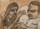 Man and Woman (with Yellow and Grey) - Jogen  Chowdhury - Modern Masters on Paper: LIVE Auction
