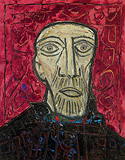 Head with Red Background - F N Souza - Summer Online Auction