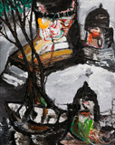 Moonlight: Boat and Temples - Manu  Parekh - Modern and Contemporary Indian Art