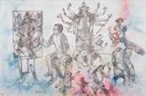 Artist painting Durga - Sakti  Burman - Modern and Contemporary Indian Art