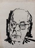 Untitled (Portrait of Ram Manohar Lohia) - M F Husain - 24 Hour Online Auction: Works on paper