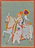 A MAHARAJA RIDING AN ADORNED STALLION -    - Classical Indian Art
