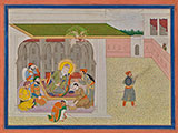 AN ELDERLY SIKH GURU RECEIVING DISCIPLES -    - Classical Indian Art