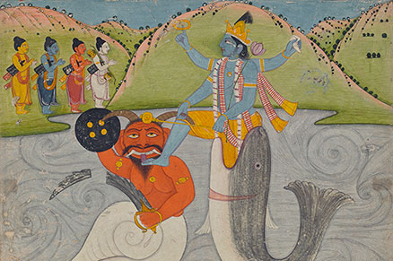 Datia 1800 Dasavatar Classic Indian Art Poster Matsya Avatara of Vishnu