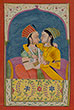 TWO PRINCESSES IN A FOND EMBRACE - Classical Indian Art