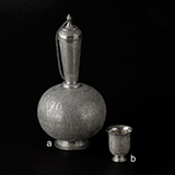 AN INDIAN SILVER`SURAHI` OR WATER FLASK WITH BEAKER -    - 20th Century Design