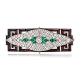 AN EMERALD AND DIAMOND BROOCH -    - Online Auction of Fine Jewels and Silver