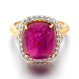 A BURMESE RUBY AND DIAMOND RING -    - Online Auction of Fine Jewels and Silver