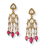 A PAIR OF DIAMOND, TOURMALINE AND PEARL EAR PENDANTS -    - Online Auction of Fine Jewels and Silver