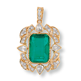 A COLOMBIAN EMERALD AND DIAMOND PENDANT -    - Online Auction of Fine Jewels and Silver