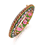 AN IMPORTANT PERIOD DIAMOND 'POLKI' ENAMELLED KADA -    - Online Auction of Fine Jewels and Silver