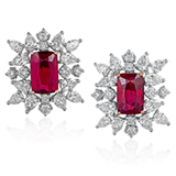 AN IMPORTANT PAIR OF RUBY AND DIAMOND EAR CLIPS -    - Online Auction of Fine Jewels and Silver