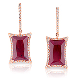 A PAIR OF RUBY AND DIAMOND EAR PENDANTS -    - Online Auction of Fine Jewels and Silver