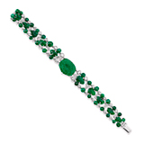 AN EMERALD AND DIAMOND BRACELET -    - Online Auction of Fine Jewels and Silver