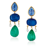 A PAIR OF SAPPHIRE AND EMERALD EAR PENDANTS -    - Online Auction of Fine Jewels and Silver