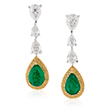 A PAIR OF DIAMOND AND EMERALD EAR PENDANTS - Online Auction of Fine Jewels and Silver