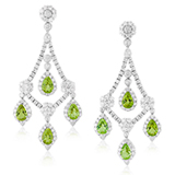 A PAIR OF PERIDOT AND DIAMOND EAR PENDANTS -    - Online Auction of Fine Jewels and Silver