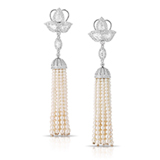 A PAIR OF DIAMOND AND PEARL EAR PENDANTS -    - Online Auction of Fine Jewels and Silver
