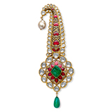 A GEMSET 'KALGI' OR TURBAN ORNAMENT -    - Online Auction of Fine Jewels and Silver