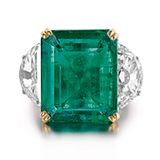 AN EMERALD AND DIAMOND RING -    - Online Auction of Fine Jewels and Silver