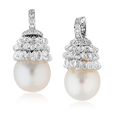 A PAIR OF PEARL AND DIAMOND EAR PENDANTS -    - Online Auction of Fine Jewels and Silver