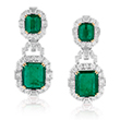 A PAIR OF EMERALD AND DIAMOND EAR PENDANTS - Online Auction of Fine Jewels and Silver