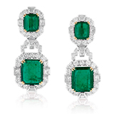 A PAIR OF EMERALD AND DIAMOND EAR PENDANTS -    - Online Auction of Fine Jewels and Silver