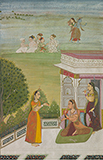 CONVERSATION ON A TERRACE: AN ILLUSTRATION FROM A RASIKAPRIYA -    - Classical Indian Art | Live Auction, Mumbai